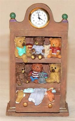 Country Timepiece Collection Teddy Bear Cabinet Nikko Quartz Clock New Battery