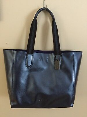 f61efaae5e56 NWT Coach F59388 Large Derby Tote In Metallic Pebble Leather Navy Purple   350