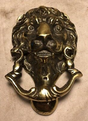 Vintage Antique Heavy Brass Door Knocker Lion Head