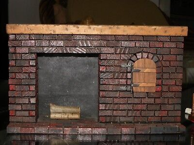 """Dollhouse Miniature Fireplace Wood Mantle Red Brick Look 1:12 Scale or? 9""""Wx5""""H"""