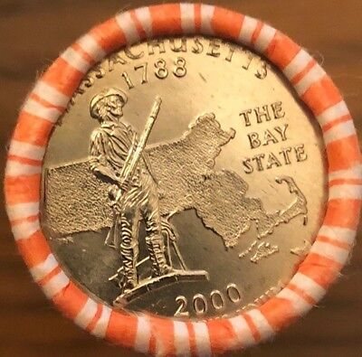 2000 D MA Massachusetts US State Quarter Roll Gem BU Uncirculated Denver mint