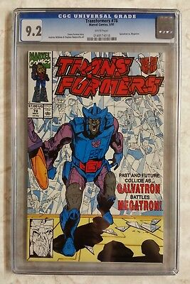 Transformers #78 (Marvel 1991) CGC 9.2, white pages Megatron vs Galvatron!