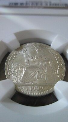 French Indochina 10 Cents 1922A NGC MS 63