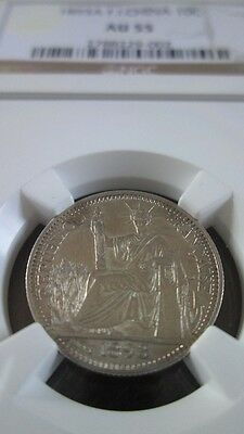 French Indochina 10 Cents 1893A NGC AU 55