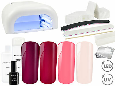 Shellac UV Gel Nagellack STARTER SET Lichtgerät Base Top Coat High Gloss Polish