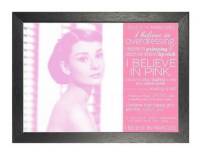 16 Audrey Hepburn British actress Model Poster Hollywood Star Pink Quote Lady