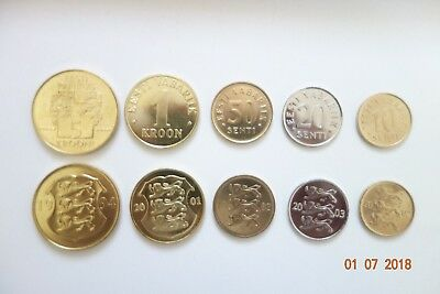 Estonia 10,20,50,1,5 Kroon Coin Set 5 Coins Unc Estland