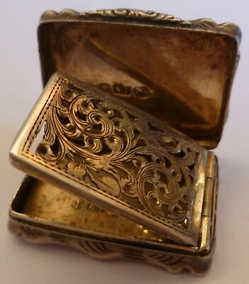 Victorian Sterling Silver Vinaigrette Box- By A.t- Birmingham 1855-- No Initials