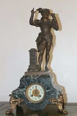 French  Mantle Clock -  Marble - Spelter Figure - 1886