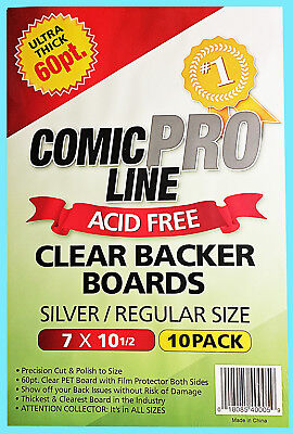 10 COMIC PRO LINE Crystal CLEAR SILVER / REGULAR SIZE 60pt BACKER BOARDS Backing