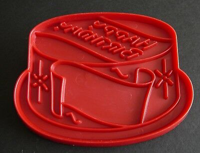 Vintage Tupperware Happy Birthday Cake Imprint Cookie Cutter Red Plastic