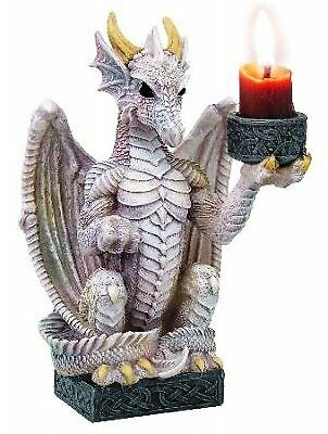 DRAGON CANDLE HOLDER WHITE - Light Keeper Gothic Ornament by Nemesis Now