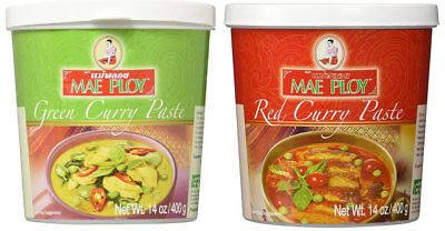 Mae Ploy Thai Green + Red Curry Paste 400 gm x 2 tubs