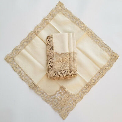 Vintage RUSTIC LACE & LINEN Dinner Napkins BOHO Shabby CHIC Peasant SHIPS FREE !
