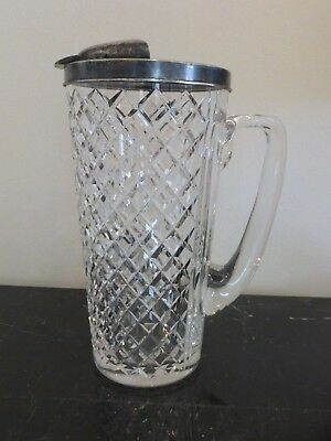 """Early Hawkes 8 3/4"""" Sterling And Diamond Cut Glass Pitcher"""