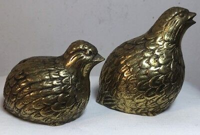 Vintage Brass Quail Figures - Paperweights Mother And Baby
