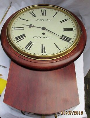 """Antique Mahogany Fusee Drop Clock With a 12"""" dial. Marked as  Osborn of Chigwell"""