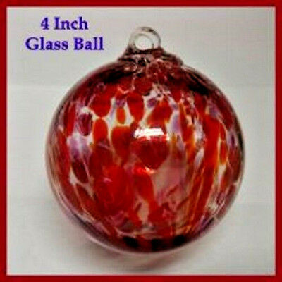 """Hanging Glass Ball 4"""" Clear Glass with Red & Purple Swirls (1) HGB4"""