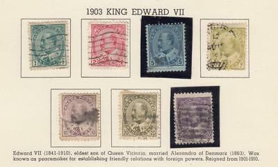 CANADA (MK2977)  #89-95  USED VARIOUS cts  1903 KING EDWARD VII CAT VALUE $150