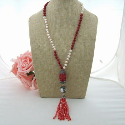 24'' White Pearl Red Coral Necklace Resin Crystal Pendant