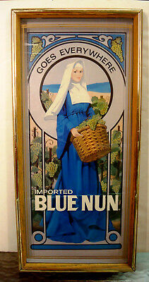 Blue Nun - Wine Ad - Goes Everywhere - Vintage - Wall Hanging - Rare - 19 x 9