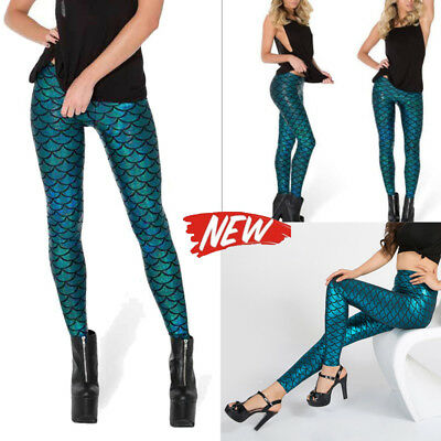 Women Sports Pants Mermaid Yoga Fitness Leggings Fish Scales Stretch Trousers