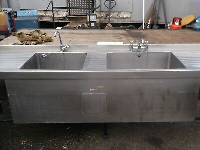 COMMERCIAL STAINLESS STEEL Kitchen Sink Double Deep Bowl Pot Wash ...