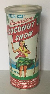 RARE VINTAGE MELE-KOI HAWAIIAN COCONUT SNOW FLAT TOP JUICE CAN 10 OZ Tiki Bar