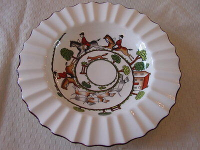 "Crown Staffordshire Hunting Scene Ashtray  8 1/2"" - Display/ Chip & Dip"