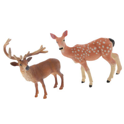 Realistic Male Deer & Sika Deer Wild Animal Model Figurine Toy Collectibles