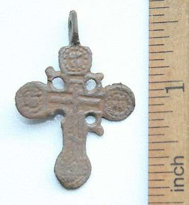 Ancient Old Bronze Golgotha Ornament Cross (JUL10)