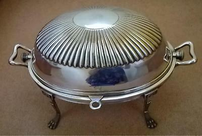 Antique Silver Plated Large Roll Top Serving Warming Dish with Gadrooned Top