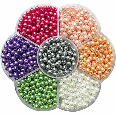 TOAOB 1050pcs 7 Colours Mixed 4mm Colorful Round Glass Pearl Beads Coloured Imit