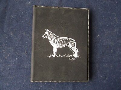 Belgian Malinois- Hand engraved Leatherette Note Pad Cover by Ingrid Jonsson