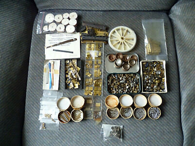 Large Job Lot of old Vintage Clock parts pins, springs, collets, hinges, winders