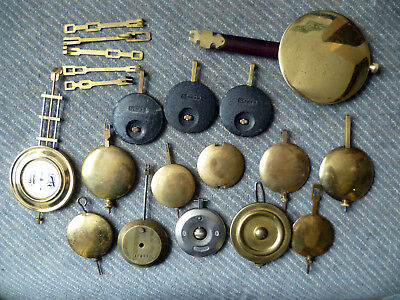 Job Lot of old Vintage Clock Pendulums and Leaders inc. Garrard - many types