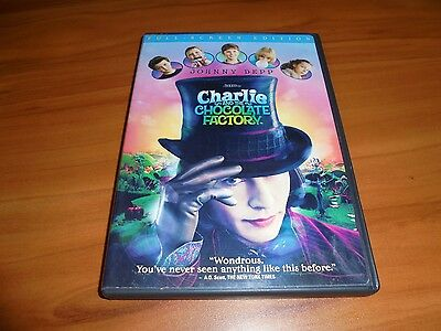 Charlie and the Chocolate Factory (DVD, 2005, Full Frame) Used Johnny Depp