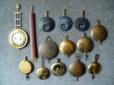 Job Lot of old Vintage Clock Pendulums inc. Garrard - many types