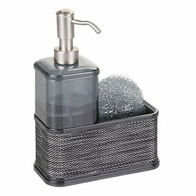 mDesign Soap Dispenser Pump with Sponge and Scrubber Caddy Organizer for Kitchen