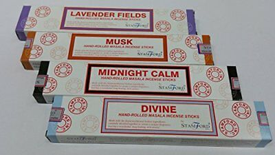 Stamford Hand Rolled Masala Incense Sticks 12 Sticks in a Box 4 Boxes Lavender