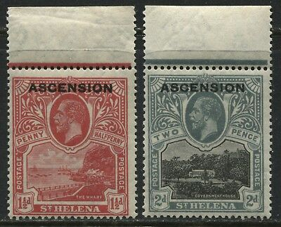 Ascension overprinted 1922 KGV 1 1/2d & 2d mint o.g.