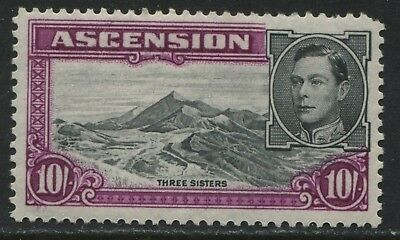 Ascension 1944 KGVI 10/ analine red purple perf 13 mint o.g.