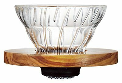 Hario V60 Olive Wood Coffee Dripper with Measuring Scoop, Glass, Transparent