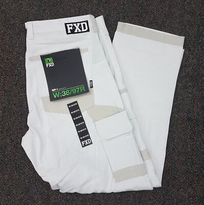 *2 PAIRS* FXD Cargo Cotton Work Pants WHITE ONLY - WP-1-BRAND NEW