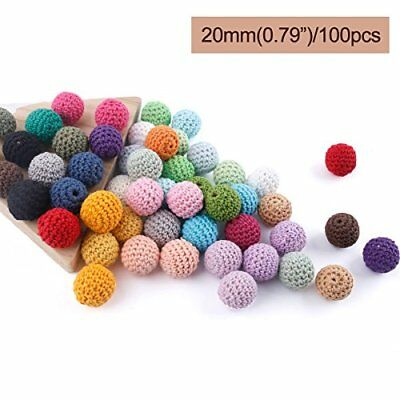 baby tete Wooden Crochet Covered Beads Color Mix Ball 20mm100Pcs Decoration Ins