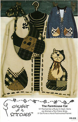 """UNCUT Caught Up In Stitches Applique Sewing Pattern KS-238 """"The Farmhouse Cat"""""""