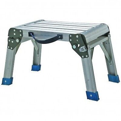 Step Stool and Working Platform 350 Lbs. Capacity Foldable Anodized Aluminum ...