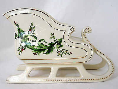 """Sleigh ceramic ivory green foliage red berries gold trim FTD 6 x 9 x 4 3/4"""""""
