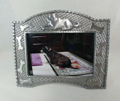 "Pet Puppy Dog Pewter Picture Frame with Bones Holds 5""x3"" Picture"