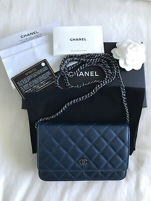 31eeb5f82fe5 PRICE REDUCTION - Authentic Chanel Wallet on Chain – Caviar Leather, Blue